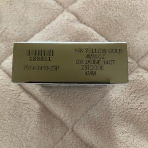 14k yellow gold 4mm CZ ear piercing studs